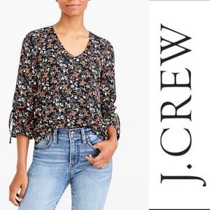 J. Crew l NWT Floral bow sleeve top